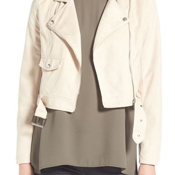 Missguided Crop Faux Suede Moto Jacket | Nordstrom