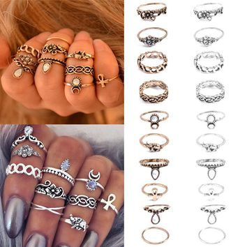 10pcs  Stackable Midi Rings Set - Flowers, Full/crescent moon, Ankh, Lucky Elephant