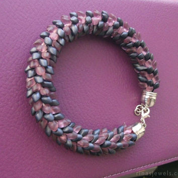 Kumihimo bracelet, Braided bead bracelet, Purple kumihimo bracelet, Beaded kumihimo jewelry