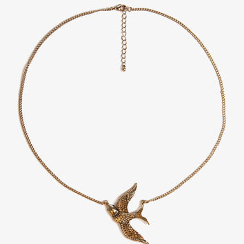 Etched Bird Charm Necklace