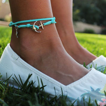 Tiffany Blue Leather Wrap Around ANKLET with by LittleBoxofJules