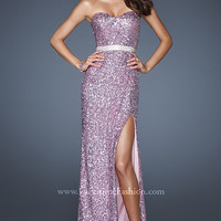 Full Length Strapless Sequin Gown