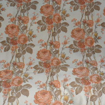 VINTAGE COTTON BROCADE/Large Coral Orange Roses against Light Ivory Beige Basket Woven Background/Woven Brocade/Good 4 Home Decorating
