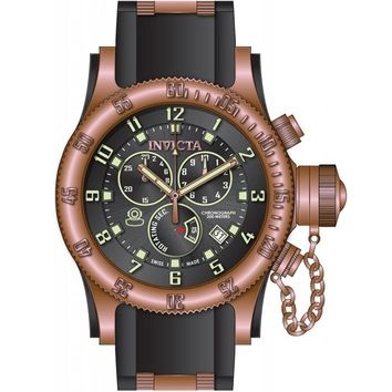Invicta 15567 Men's Russian Diver Black Dial Rose Gold Steel & Black Rubber Strap Chronograph Dive Watch