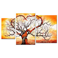 Yellow Contemporary Tree Landscape Canvas Wall Art Oil Painting