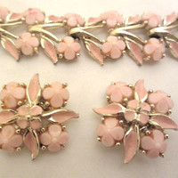Pink Lucite Bracelet with Earrings Set, Enamel, Flower 1960s, Vintage Jewelry ETSY SALE