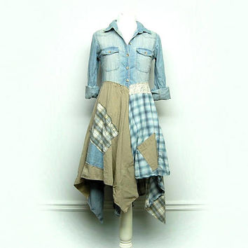 Denim Duster,  Long Denim Jacket, Shabby Chic Clothing, Hippie Boho Chic Clothing, Free People Style, Anthroplogie Style, Upcycled Clothing