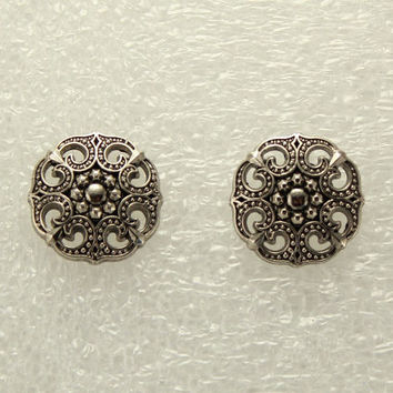 Antique Style Silver Filigree Button Magnetic Non Pierced Clip or Pierced Earrings