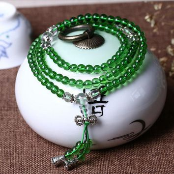 Women's Fashion bracelet green Natural Crystal Beads Bracelet tassel Multi-layer Rosary Mala Bracelets Free Shipping