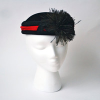1940s Christine Originals Black Velvet Hat Ostrich Plume Red Trim