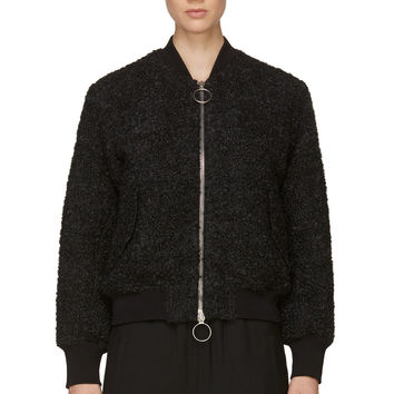Acne Studios Gray Boucle Knit Tyson Bomber Jacket