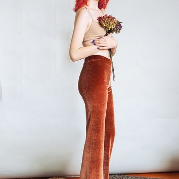 Hells Bells - Rust brown velvet bell bottoms wide leg pants - rose gold