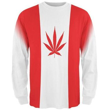 ESBGQ9 Canada Flag Pot Leaf Marijuana All Over Mens Long Sleeve T Shirt