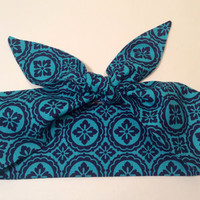 Dolly Headband, Tie-Up Hairband,  Dolly Bow, Dark Blue and Teal Circle Medallion Print - READY TO SHIP!