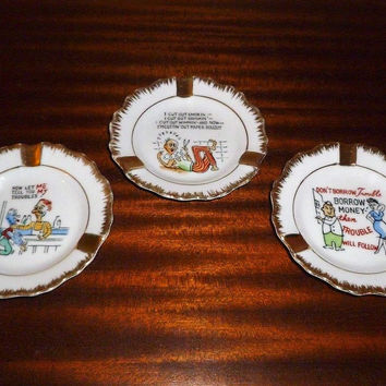 Vintage 1970s set of Three (3) Novelty Ashtrays / Gold Rimmed Ashtrays / 10 cm Diameter / Made in Japan