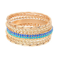 Multicolor Multilayer Bracelet with Rhinestones