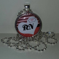 "RN 1"" Pendant Necklace or Keychain free shipping nurse necklace rn keychain rn necklace"