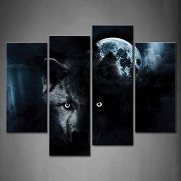Frameless Canvas Painting Print 4pcs Black Wolf and Full Moon Wall Art Picture Wall Decorations for Living Room Bedroom Office A