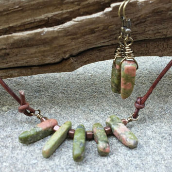Natural Earrings, Green and Peach semi precious stones, Free shipping in US