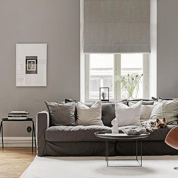 Plain Color Washable Linen Blinds, Fabric Roman Shades, Window Blinds - Gray