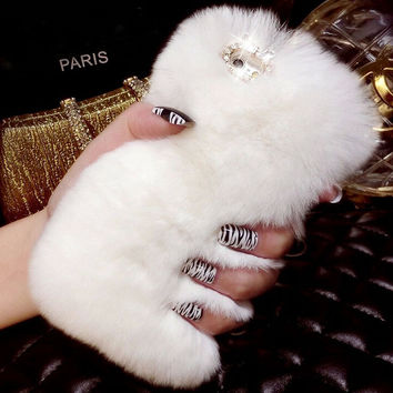 Bling Crystal Rhinestone Design Fluffy Soft Genuine Rabbit Fur Winter Warm creative case for iPhone 6 6s iPhone 6 6s Plus