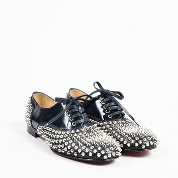 CREYU2C Christian Louboutin Black Leather Lace Up Freddy Spikes Oxford Flats
