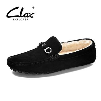 CLAX Men Fur Moccasins Winter Suede Leather Loafers Mens Boat Shoes Plush Warm Casual Shoe Soft Fashion Flat Footwear Large Size