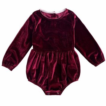 Adorable Baby Girls Burgundy/Red Velour Long Sleeve Romper Onesuit