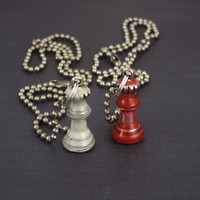Alice Through the Looking Glass Red & White Chess Queen Best Friend Necklaces