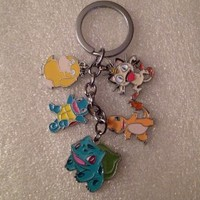 Pokemon Charm Metal Key Chain Key Ring Squirtle, Meowith, Psyduck, Charmander