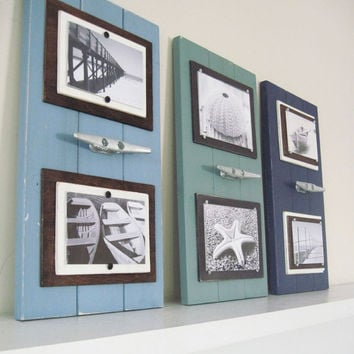 Double Picture Frame with Boat Cleat You Choose Colors