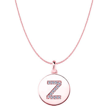 """Z"" Diamond Initial 14K Rose Gold Disk Pendant (0.12ct)"