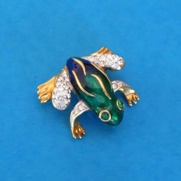 Cute Vintage Attwood and Sawyer A&S Enamel Rhinestone Frog Brooch Pin