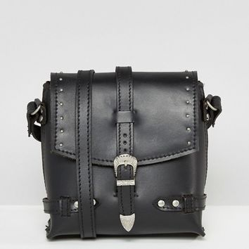 ASOS Grunge Leather Studded Boxy Cross Body Bag at asos.com