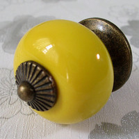 Yellow Dresser Drawer Knobs Pulls Handles / Kitchen Cabinet Knobs Pull Colorful / Ceramic Knobs Porcelain Knob Antique Bronze Hardware