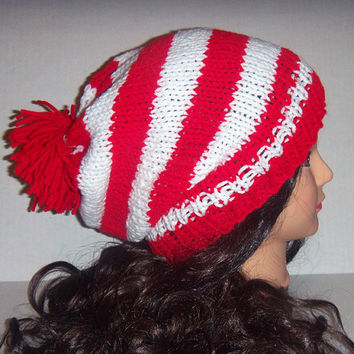 Knitted Red and White Striped Slouchy Beanie Hat, Pom Pom Hat, Valentines Day Hat