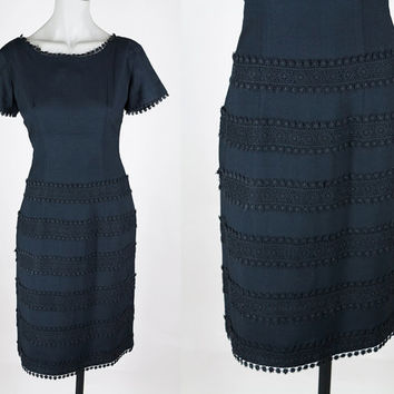 Vintage 50s Dress / 1950s Black Linen and Crochet Sheath Dress S