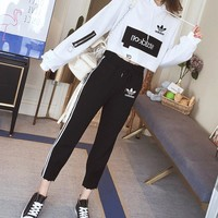 """Adidas"" Women Casual Fashion Letter Long Sleeve Short Hoodie Sweater Stripe Trousers Set Two-Piece Sportswear"