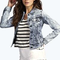 Helen Acid Wash Slim Fit Denim Jacket