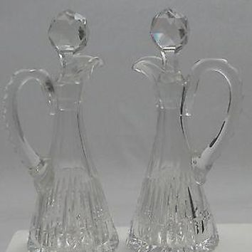 Pair Cut Glass  Antique cruet's oil bottle