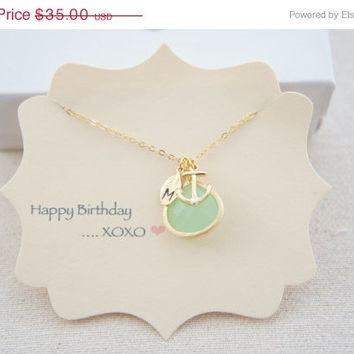 10% OFF Personalized mint green gem necklace with anchor and small leaf, wedding, bridesmaids, gift
