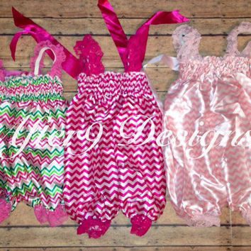 Girls Chevron Lace Petti Romper with letter by AfterNineDesigns