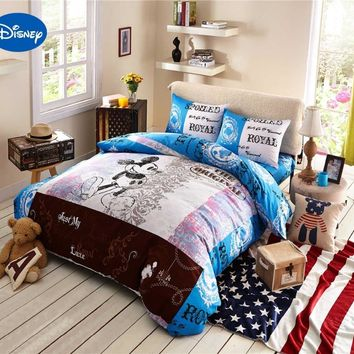 Cartoon Disney Print Bedding Set Cotton ROYAL Blue Mickey Mouse Comforter Bed Sheet Duvet Covers Children's Bedroom Decor Twin