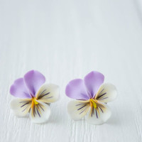 Purple White Yellow Pansies Kiss-me-quick stud earrings small hypoallergenic studs earstuds ear girls accessory handmade gifts