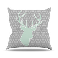 "Pellerina Design ""Winter Deer"" Gray Green Outdoor Throw Pillow"