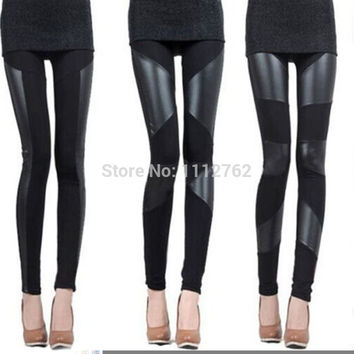 Womens Fashion Sexy Stitching Stretchy Faux Leather Skinny Tights Leggings Pants Free Shipping NYkeN