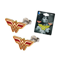 Stainless Steel Post with Wonder Woman Logo Stud Earrings W/ Butterfly Back