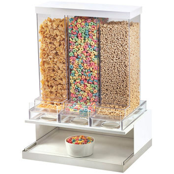 17.5W x 13.5D x 24H Luxe Three Section Cereal Dispenser White Metal Frame/Stainless Steel Base