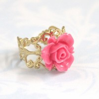 Pink Flower Adjustable Ring With Fi.. on Luulla
