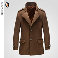 Pea Coat Jackets Men Winter Wool Windbreaker New Fashion Woolen coat trench outerwear overcoat  Slim cashmere coat